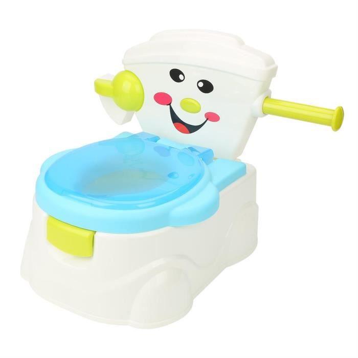 Wakects Pot Bébé Toilette de Voyage Portable Design Amusant pour Enfant Musical Siège de Pot Toilette avec Poignée Antidérapant