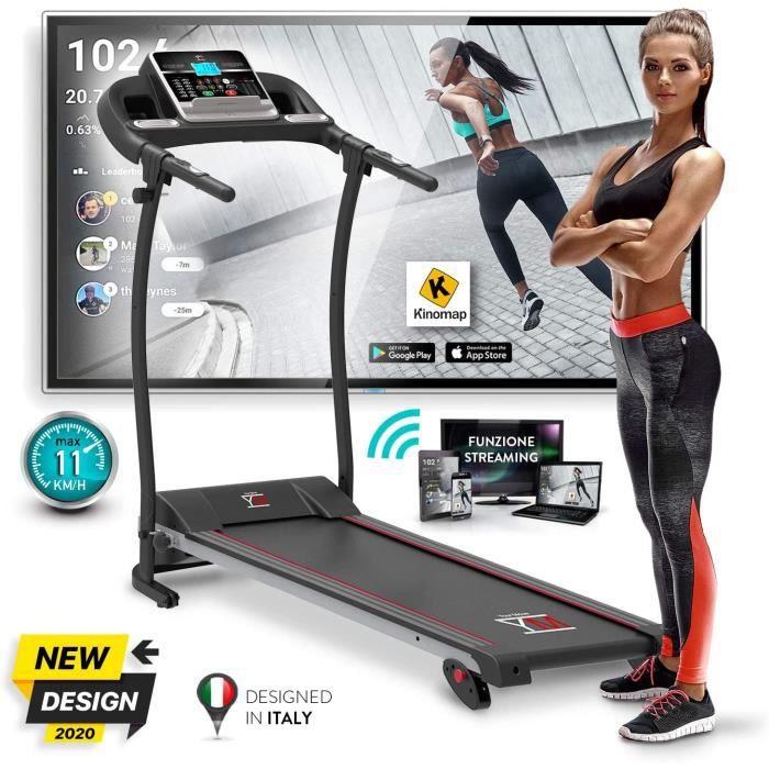 Tapis de Course Pliable 11 km/h, Nouvelle Modèle 2020, Bluetooth, App multiplayer-video KINOMAP, Capteur Cardiaque, Inclinaison, 12