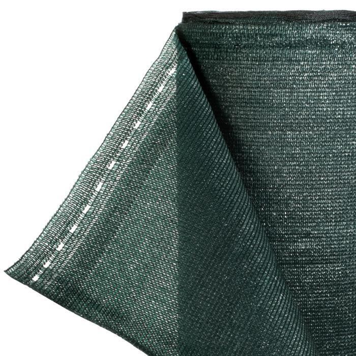 HOLZBRINK 50m Brise-vue 95% occultant, Voile d'ombrage + Corde de Fixation PP - VERT FONCÉ - HZB-01E-200-50