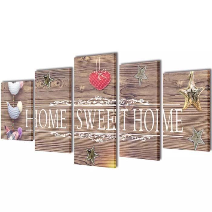 Set de toiles murales imprimées Style contemporain - Tableau sur toile Tableau decoration murale -Home Sweet Home- 200 x 100 *498473