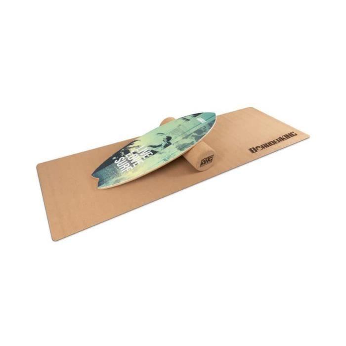BoarderKING - Kit Indoorboard Wave : planche d'équilibre + tapis + rouleau - Bois-liège vert