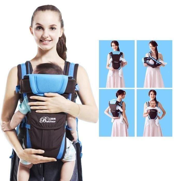 Nouveau-né Porte bébé réglable Sling Wrap Baby Carrier sac à dos pour BéBé 0-2 ans - Bleu