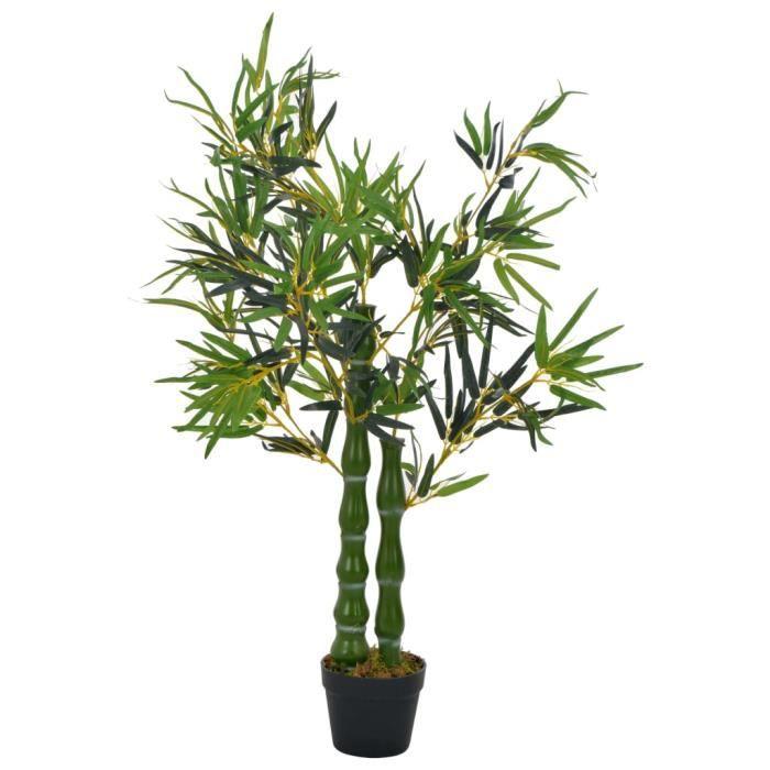 Moderne Plante artificielle Fausse Plantes avec pot Bambou Vert 110 cm
