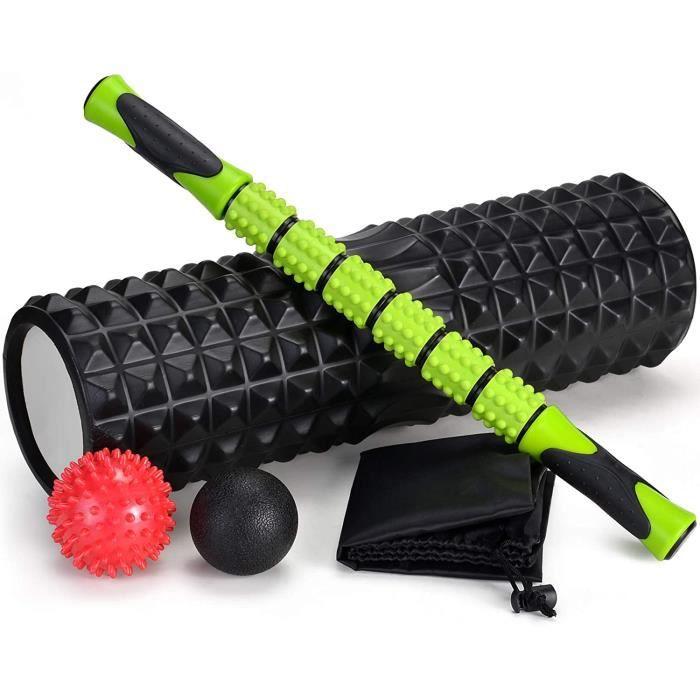 Odoland Foam Roller, Rouleau de Massage 5 en 1, Rouleau en Mousse avec Trigger Points + bâton de Rouleau Musculaire + balles de 3
