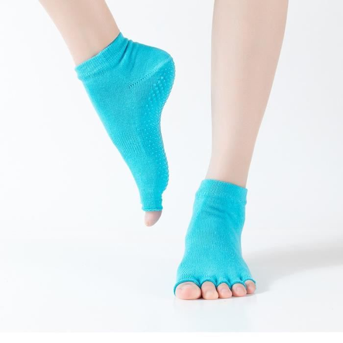 Accessoires Fitness - Musculation,Thunshion 3 paires femmes Yoga ouvert orteils chaussettes Massage antidérapant - Type Blue