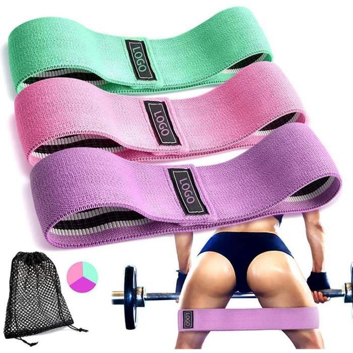 Bande Elastique Fitness Bande de Résistance Set de 3 pour Hanche Jambes Corps Fessiers Musculation Pilates Squat Sport