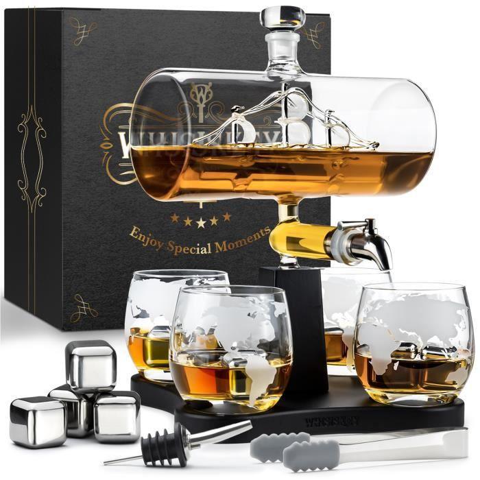 Whisiskey® Carafe Whisky - Bateau - 1000 ml - 4 Verre à Whisky, 4 Pierre à Whisky, Bec Verseur - Vin Carafe Decanter - Cadeau homme