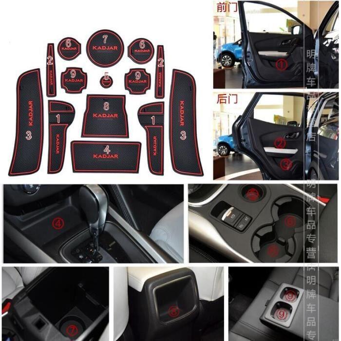 Décoration Véhicule,Housse de porte antidérapante pour Renault KADJAR, en gel de silice, pour tasse, accessoires, GR - Type 2 red