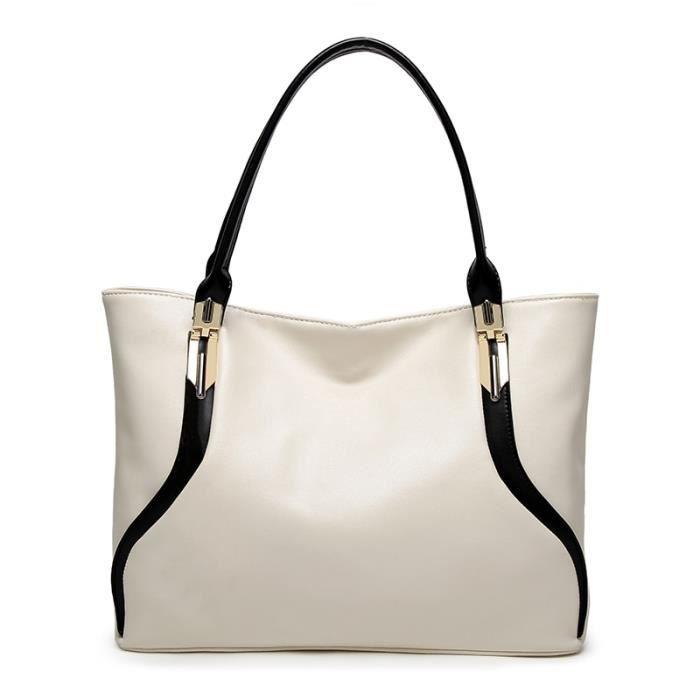 Sac bandoulière femme,Sac à main en cuir PU blanc pour femmes,sac à bandoulière de luxe Simple,fourre tout de grande - Type WHITE