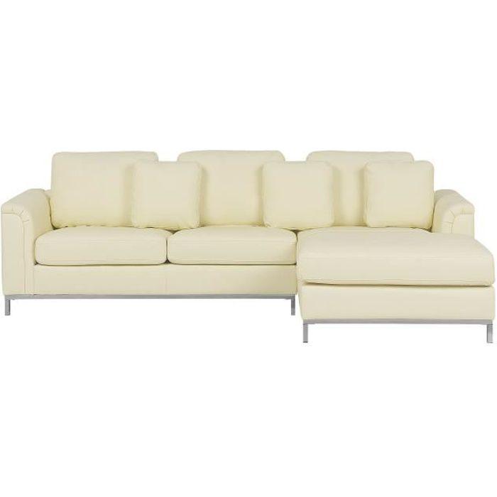 Canapé angle gauche en cuir beige Oslo