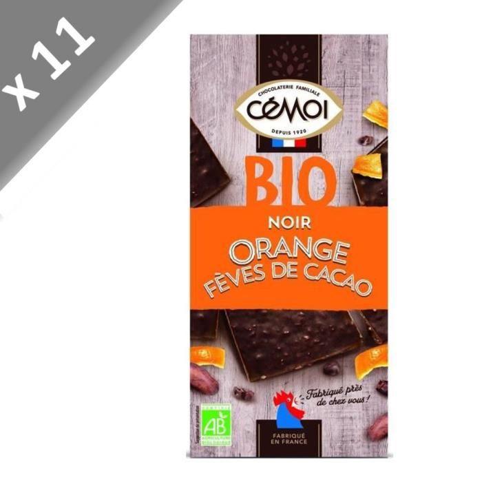 CEMOI Lot de 11 Tablettes - Bloc Chocolat noir, huile essentielle d'orange & éclats de fèves de cacao - Bio - 180 g