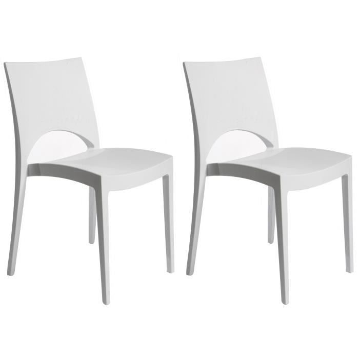 Lot de 2 chaises Design Blanche VENISE