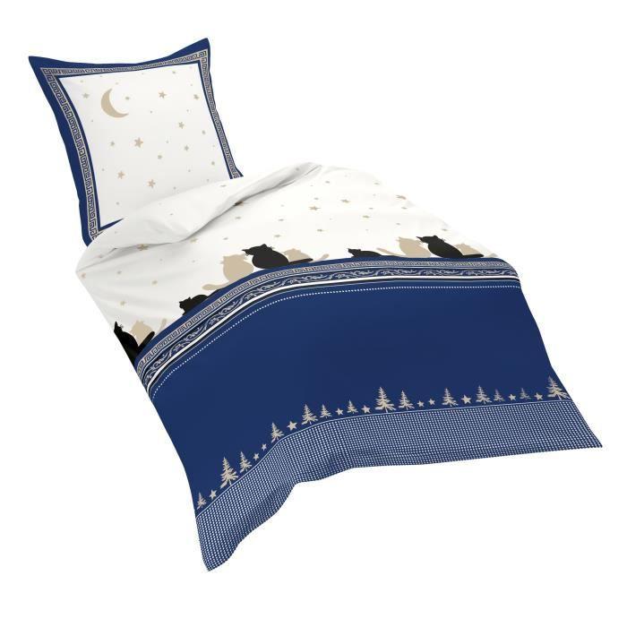 Fleuresse 433048 Fb. 2 Parure de lit en flanelle douce Bleu nuit, Flanelle, bleu, 135 cm x 200 cm
