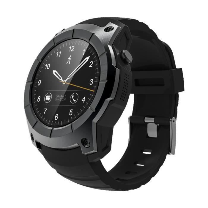 Montre GPS connectée sport étanche IP66 cardiofréquencemètre S958 noire smartwatch android et ios