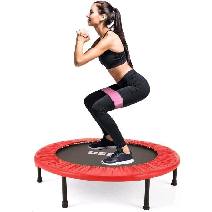 Trampolines de Fitness Pliable Rond Ø 96cm, Trampoline d'exercice Exterieur/Interieur pour Adulte et Enfant, Maximale 150kg, Rouge