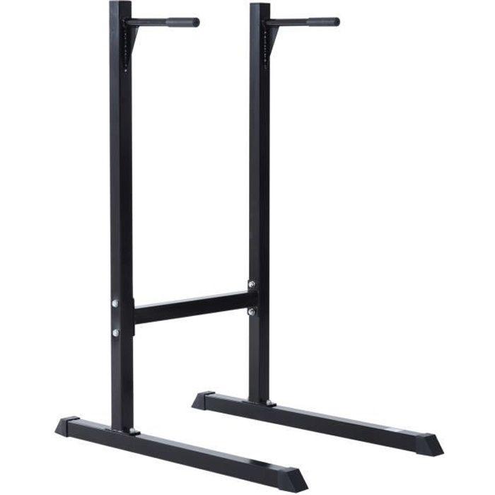 Appareil abdominaux dips barres à dips Fitness poignées ergonomiques et pieds antidérapants acier noir neuf 46BK