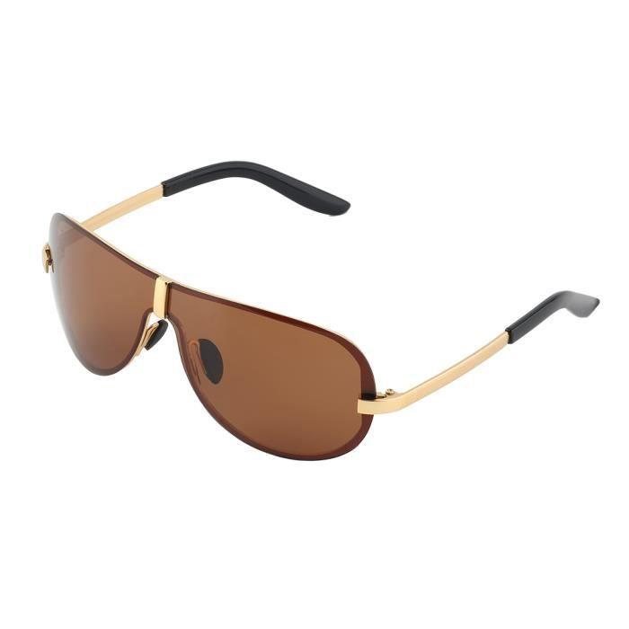 100% UV400 Vêtements pour hommes design de mode objectif Tendance lunettes de soleil polarisées pour voyager-marron
