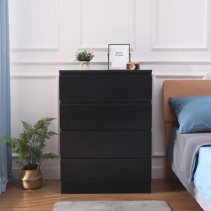 Commode de Chambre avec 4 Tiroirs Moderne - Table de Chevet - Noir , Bois, 70 x 40 x 96cm - MONDEER