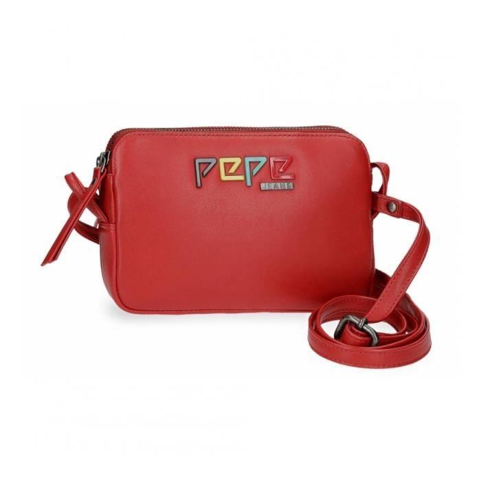 Sac à bandoulière en cuir Deux compartiments Pepe Jeans Mandala rouge -19x13x3cm