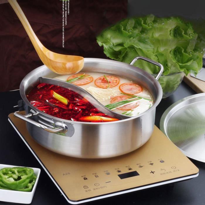Cuisinière à induction épaissir en acier inoxydable Double Hot Pot Compartiment de cuisson Pots de CUISINIERE - PIANO DE CUISINE