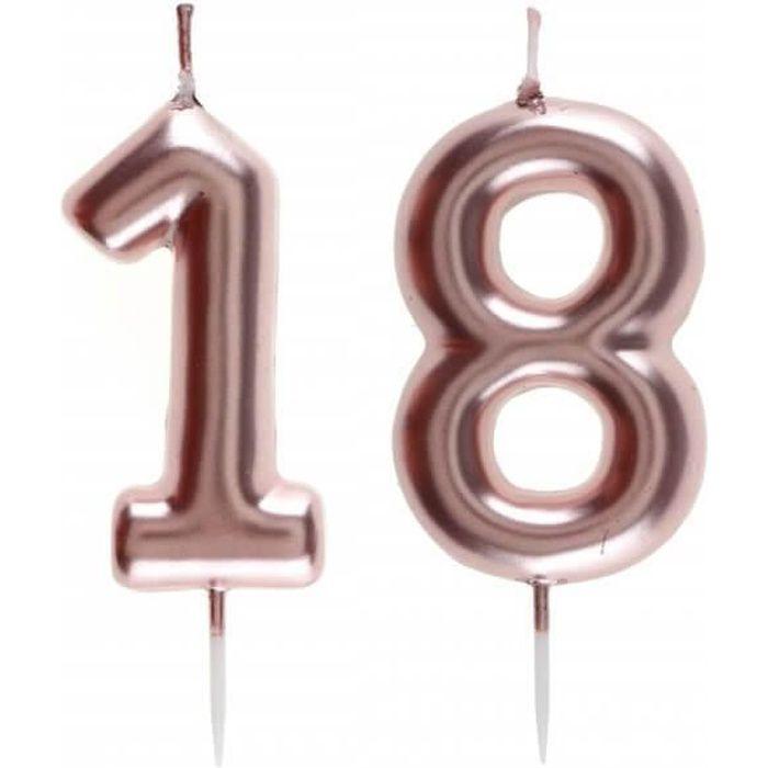 1 Pack bougie anniversaire 18 ans rose gold pour décoration gâteau anniversaire REF/7305
