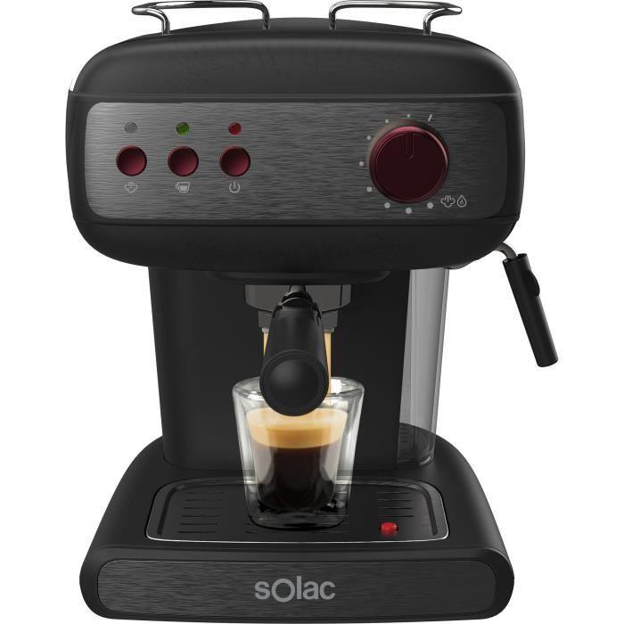 SOLAC Stillo 20 bar - Machine à expresso - 850W - 20 bars - Système Extra Cream- Buse vapeur - Réservoir 1,5L - Noir