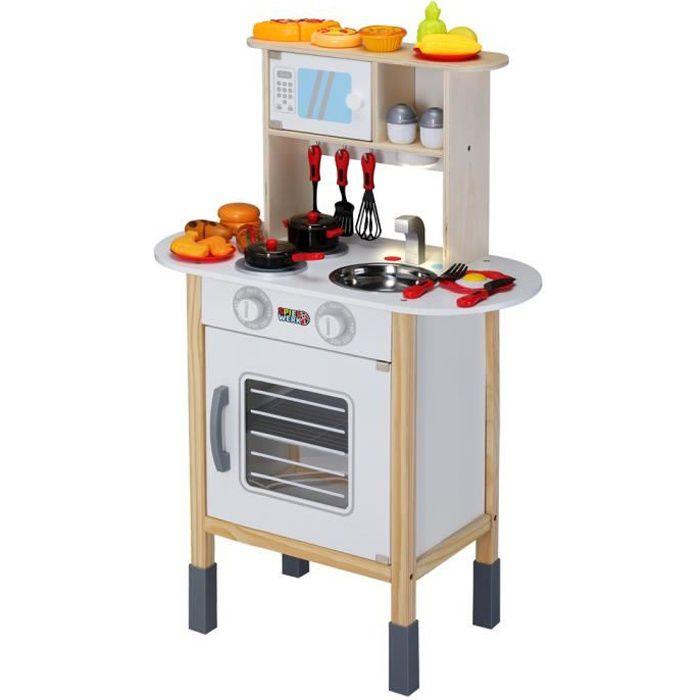 Cuisine pour enfants bois 57x29,5x77/83cm dinette cuisinière réglable hauteur 35 accessoires jeu éducatif enfant jouet d'imitation