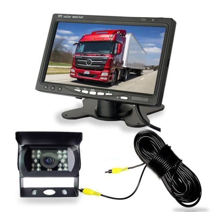 TD® Caméra de Recul 7 pouces Moniteur LCD,18 LED IR Nocturne Vision Caméra Arrière Kit 20m Câble 12V-24V Bus Remorque Camion RV