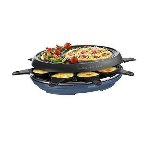 Tefal Raclette Colormania 3 en 1 Appareil à Raclette Grill et Crêpe, Revêtement Antiadhésif Easy Plus, 8 Coupelles, Compatible