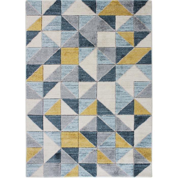 FJORD - Tapis aspect laineux motif carrés bleu et jaune 120x170