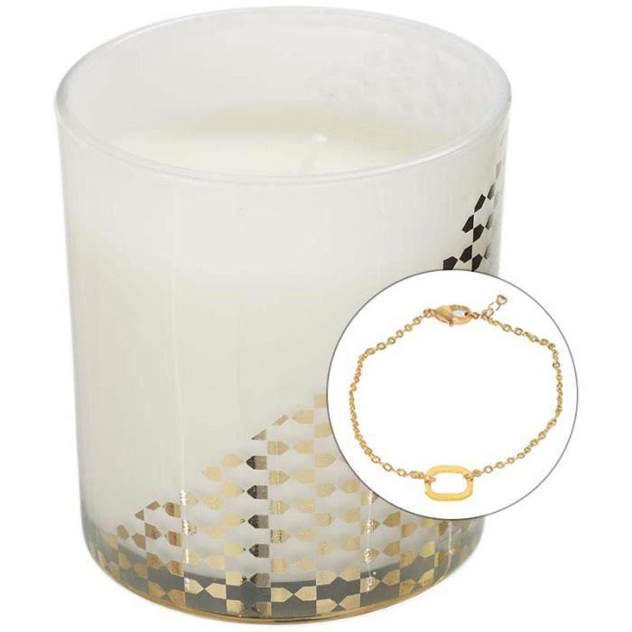 Bougie parfumée avec bijoux surprise 8 cm Blanc et or Blanc Et Or