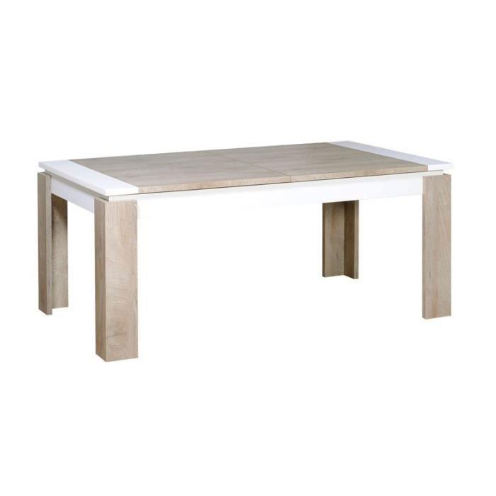 Table de repas à allonge Chêne délavé/Blanc mat - FLORINE - L 180 / 260 x l 100 x H 76