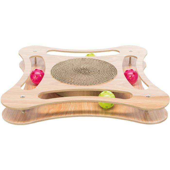TRIXIE Griffoir en carton avec jouet en bois - 35 x 4 x 35 cm - Pour chat