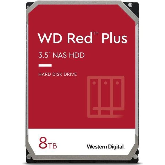 WD Red™ Plus - Disque dur Interne NAS - 8To - 7200 tr/min - 3.5- (WD80EFBX)