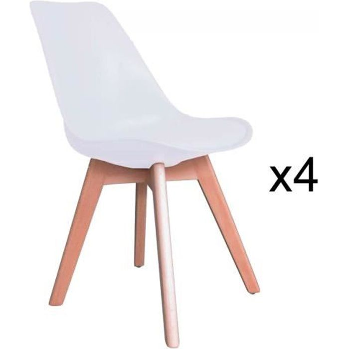 lot de 4 chaises scandinave blanc gala achat vente chaise blanc cdiscount. Black Bedroom Furniture Sets. Home Design Ideas