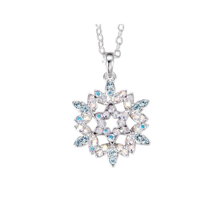 Womens Snowflake Fashion Swarovski Crystals Rhodium Plated Princess Pendant Chain Jewellery For &O06ZN