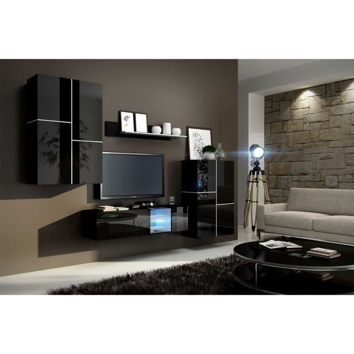 meuble de salon meuble tv complet suspendu inbox noir led meuble design et tendance avec. Black Bedroom Furniture Sets. Home Design Ideas