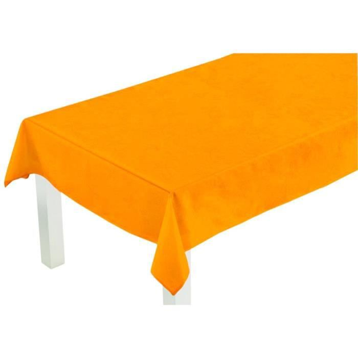 nappe orange coton enduit 160 x 400 cm nappe anti taches achat vente nappe de table cdiscount. Black Bedroom Furniture Sets. Home Design Ideas