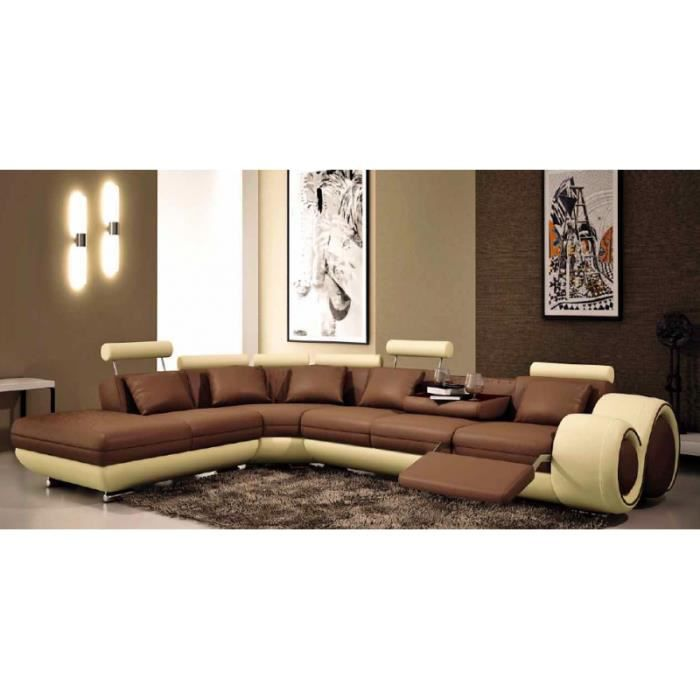 canap d 39 angle design relax cuir beige et marron achat vente canap sofa divan cuir. Black Bedroom Furniture Sets. Home Design Ideas