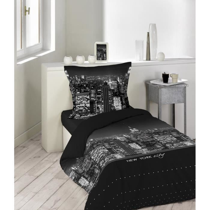 housse de couette 140 x 200 cm taie new york achat. Black Bedroom Furniture Sets. Home Design Ideas