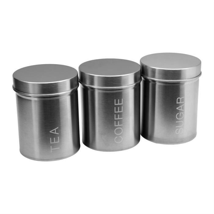 Lot de 3 acier inoxydable stockage des aliments Boîtes Sucre Café Thé JAR TIN Vert