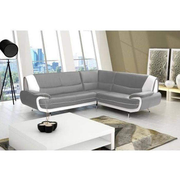 canap angle jana gris et blanc droit achat vente canap sofa divan cuir polyur thane. Black Bedroom Furniture Sets. Home Design Ideas