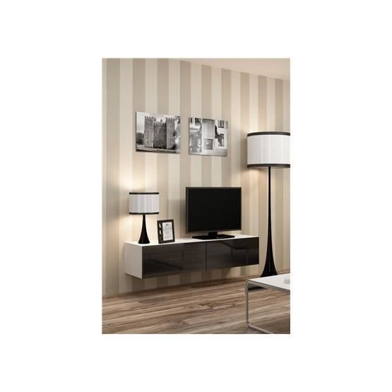 meuble tv design suspendu vito 140cm blanc et noir achat vente meuble tv meuble tv design. Black Bedroom Furniture Sets. Home Design Ideas