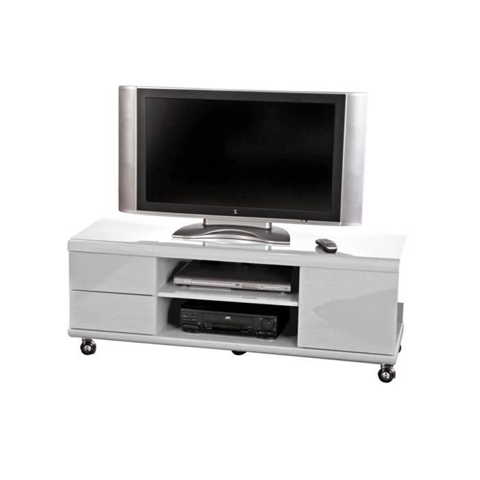 meuble tv sur roulettes en mdf blanc laqu sparo achat. Black Bedroom Furniture Sets. Home Design Ideas