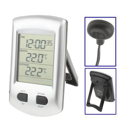 Thermom tre lcd int rieur ext horloge calendrier achat for Thermometre maison interieur