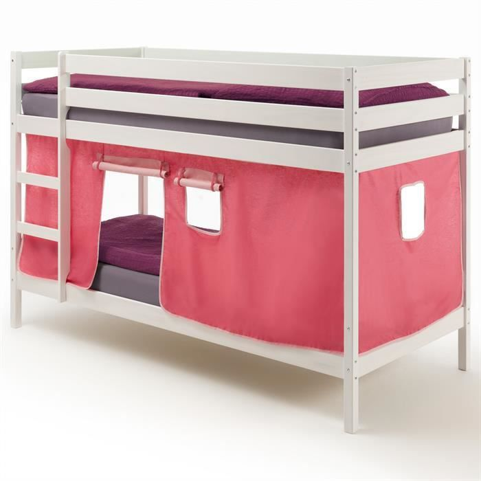 lits superpos s blanc felix rideaux rose achat vente lits superpos s cdiscount. Black Bedroom Furniture Sets. Home Design Ideas