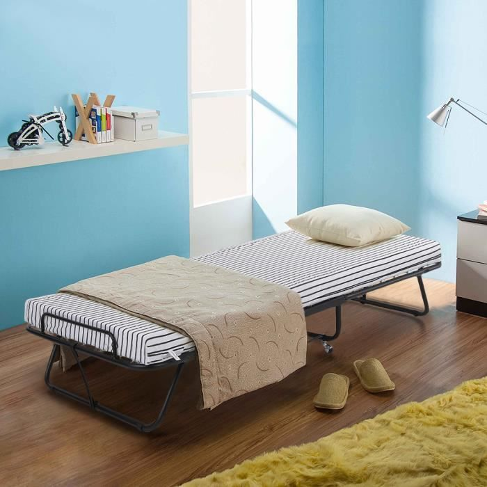 ikayaa lit pliant portable avec matelas single en m tal de. Black Bedroom Furniture Sets. Home Design Ideas