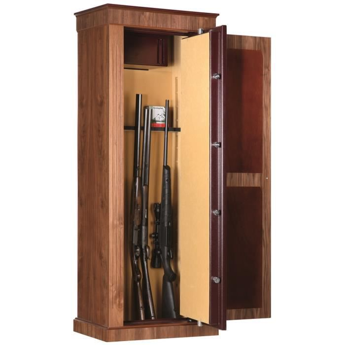 armoire forte wood cover noyer 8 armes t1 marron. Black Bedroom Furniture Sets. Home Design Ideas