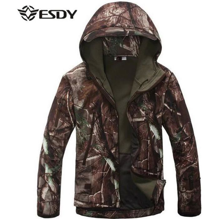 Veste Imperméable Chasse Homme Softshell Tactique Esdy Polaire A5707q