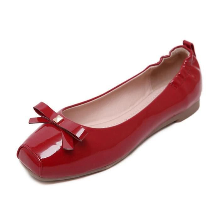 MOCASSIN Cute Square Toe Bow Flats Ladies Patent Pu Loafer